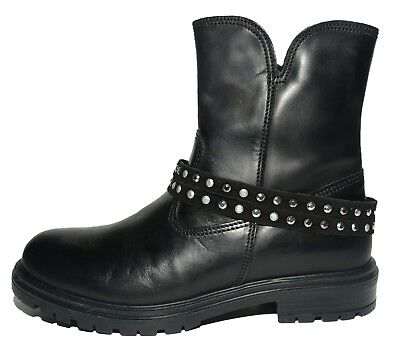 Primigi Girls Shigy Black Leather Zip Boots Removable Strap UK 2.5 EU 35 US 3