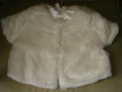 brand new marks and spencer age 9 to 10 years ivory faux fur cape top christmas