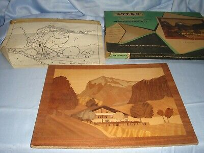 genuine vintage wood atlas marquetry picture set completed mid century retro