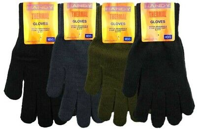 2 Pairs Mens Thermal Knitted Full Gloves Assorted Colours