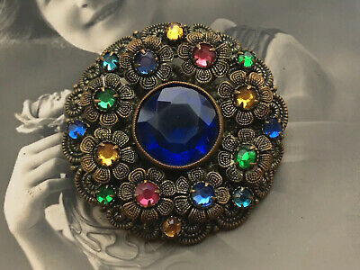 Vintage Antique Art Deco Czech Filigree Blue Cut Glass Flower Brooch Pin