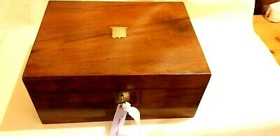 Antique Walnut writing Slope With Working Lock &key &a Screw top Inkwell .nice