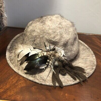 Austrian Grey And Brown Felt Hat With Feather Detail