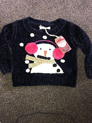 Next Girls Age 4 Years Penguin Fluffy Jumper Christmas BNWT RRP£20