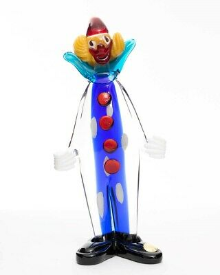 "Vintage Murano Italian Art Glass Clown Figurine Standing Blue Stripe 9.5"" Tall"