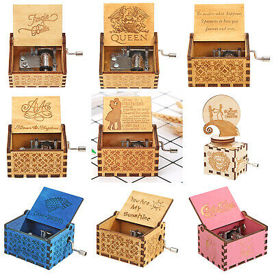 Retro Wooden Music Box Hand Crank Engraved Toys Kids Birthday Xmas Gift Ornament