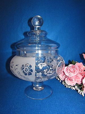 """Large Frosted Etched Crystal Pedestal Compote Bowl Candy Dish W Lid 13.5"""" Tall"""