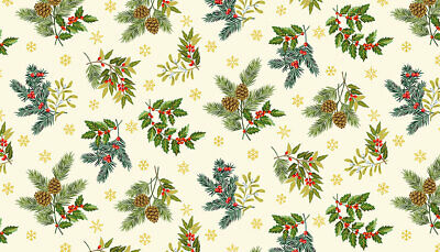 HOLLY Leaves /& Berries cotton fabric Makower FQs,1//2 metres Metres Sewing,craft