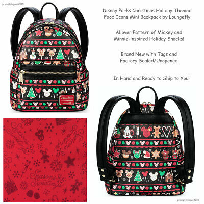 NEW Disney Parks Christmas Holiday Themed Food Icons Mini Backpack by Loungefly