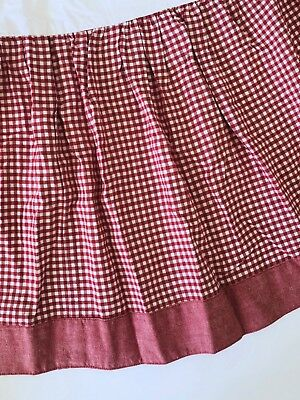 Tadpoles Crib Nursery Bedskirt Dust Ruffle GINGHAM~Red /White~EUC