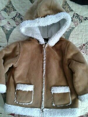 Toddler Girls Winter Coat Jacket With Hood  Plush Fleece Sharpa  Size 24 Months
