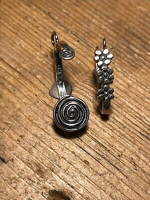 Two Sterling Silver Flower & Spiral Donut Bails