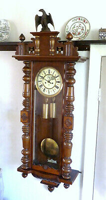 GUSTAV BECKER VIENNA WALL CLOCK, 2 WEIGHT.RESTORED,  1900s with original key