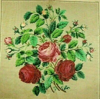 Antique Berlin Woolwork Original hand-painted Large chart pattern 19th century