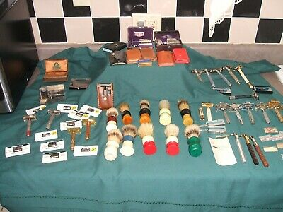 Vintage Saety Razors,Brushes And Blades Large Lot