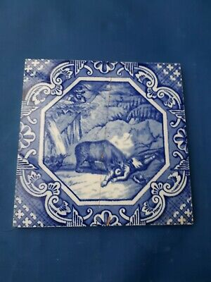 Antique Victorian Minton Hollins Tile C1875 Blue And White, Bull Matador