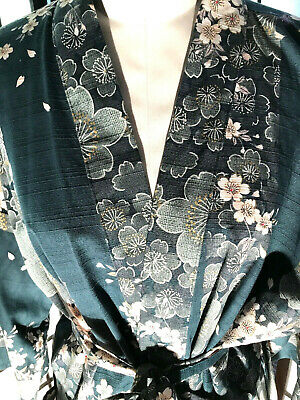 vintage blue floral japanese kimono 100% cotton One Size