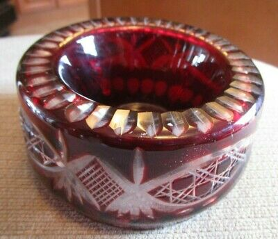 Vintage Czech Bohemian Cut Crystal Ruby Red Bowl Ashtray 2 Sided
