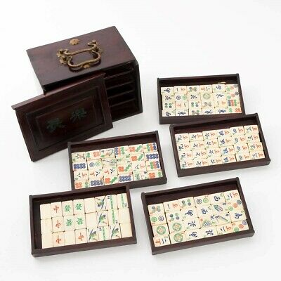 Antique 1920s Chinese Mahjongg Game Set Wood Case with Drawers 120 Painted Tiles