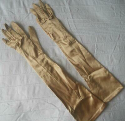 Pr Vintage Rayon Nylon Above Elbow Length Gold Colour Evening Gloves W Germany