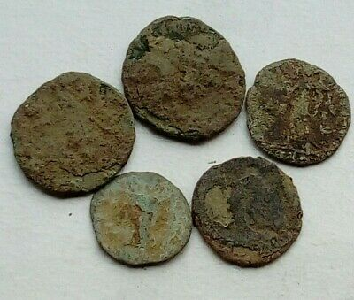 Lot Of 5 Uncleaned Roman Bronze Coins