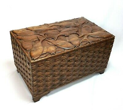 RARE Incredible Vintage Hand Carved Wood Chest Fish Basket Signed Honduras Trunk