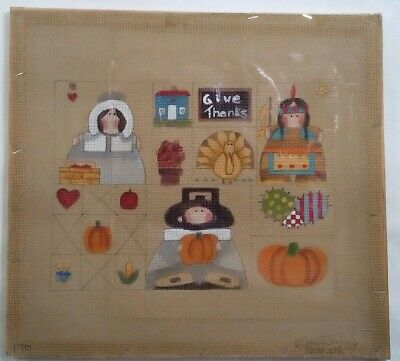 Sandy Jenkins needlepoint handpainted canvas 179 Thanksgiving sampler w/ GUIDE