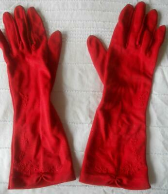Pr Vintage 1960S Dents Red Nylon Simplex Gloves Flower Embroidery Trim 7