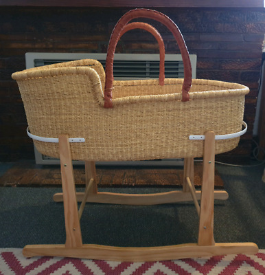 Adinkra Ethically Made Moses Basket and Mattress