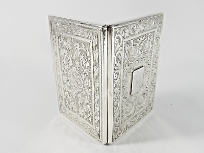 Superb Antique Victorian 1876 Sterling Solid Silver Card Case Bright Cut English