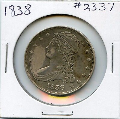 1838 50C Capped Bust Silver Half Dollar. Almost Uncirculated. Lot #2004