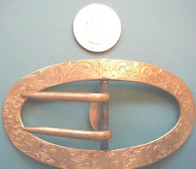 Large Antique 18Th Century? Engraved Brass Shoe Buckle