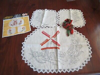 Semco Novelty Embroidery Dutch Tulips and Windmill Duchess Set