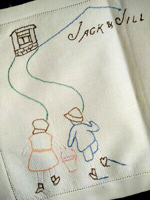 Vintage Nursery Rhyme 'Jack & Jill went up the Hill'   Hand Embroidered Traymat