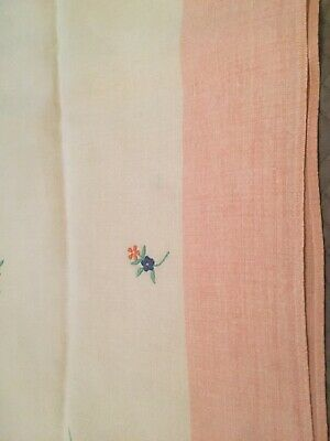 Vintage Linen Oblong Tablecloth White Pink Border Embroidered Flowers
