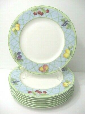 8 Mikasa Optima FRUIT RAPTURE Y4001 Dinner Plates 10-7/8 Super Strong Fine China