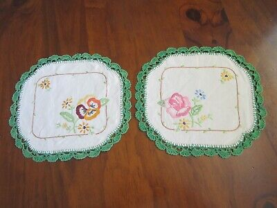 Vintage Hand Embroidered Doilies Crocheted Edge x 2 Doily Set