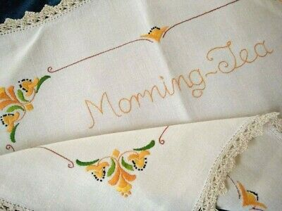 Vintage 'Named' 'Morning Tea' DECO Flowers   Hand Embroidered Traymat