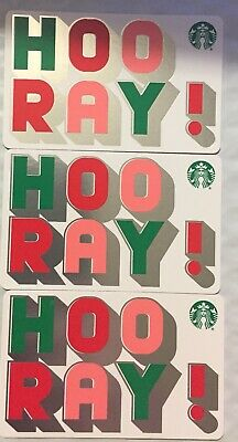 """Lot 3 Starbucks """"HOORAY!"""" Christmas 2019 Recycled Paper Gift Card set"""