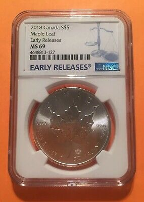 2018 Canada 1oz 9999 Fine Silver Maple Leaf NGC MS69 Early Releases $5 CAD 枫叶银币