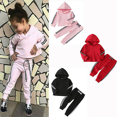 US Toddler Kids Baby Girls Boys Clothes Hooded Tops Pants Outfits Sets Tracksuit