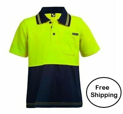 Childs/Kids Hi Vis Polo  For active LITTLE Helpers  Yellow/Navy Kids Sizes 0-14