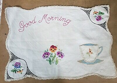 """Vintage 'Named' Linen Words """"Good Morning"""" Hand Embroidered Traymat/Tea Cloth"""