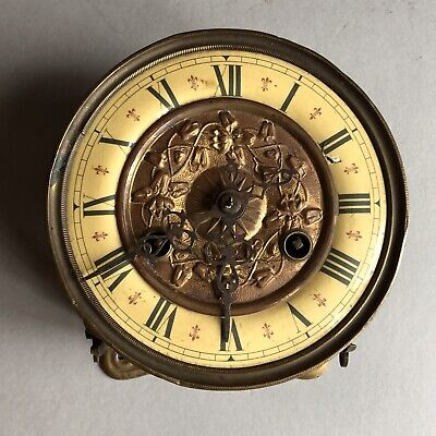 Antique Friedrich Mauthe Schwenningen (FMS) Brass Clock Movement/Face