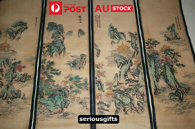Chinese Scroll Paintings Set Of 4 Veritical Hangable Scroll Paintings