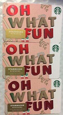 """Lot 3 Starbucks """"OH WHAT FUN"""" Christmas 2019 Recycled Paper Gift Card set"""