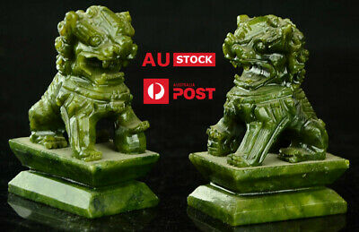 Carved Fengshui Foo Fu Dogs x 2 Guard Lion Statues. Natural China Green Jade.