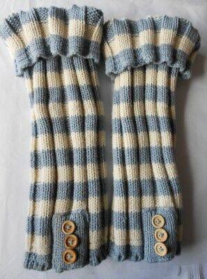 Blue & White Striped Knitted Womens Essentials Leg Warmers