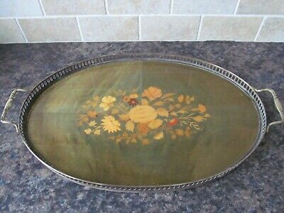 Antique Vintage Inlaid Marquetry Serving Tray. Brass Gallery Tray