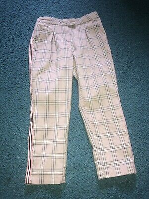 Next Girls Check Trousers Pink/Grey Age 5 VGC